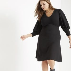 Eloquii Black Puff Cuffed Long Sleeve Dress